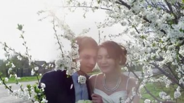 Bride and groom are in the blossoming spring garden — Стоковое видео