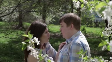 Loving couple walking in a park near a blossoming tree in the spring — Stock Video