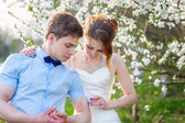 Bride groom shows his biceps on the background of a flowering tree — Stock Photo