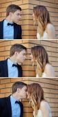 Collage bride and groom kiss on corner of a house in the city — Stock Photo