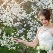 Beautiful bride in a blossoming spring garden — Stock Photo #72498453