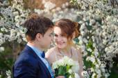Bride and groom walking in the blossoming spring garden — Stock fotografie
