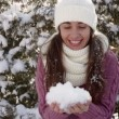 Young woman in a white hat holding snow — Stock Video #75664933