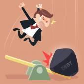 Scale between businessman and debt burden — Stock Vector