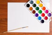 Watercolor paints on a white background — Stock Photo
