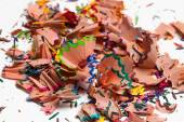 A handful of shavings from colored pencils — Stock Photo