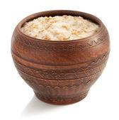 Bowl of oatmeal  on white — Photo