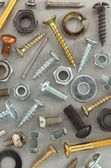 Hardware tools at metal background  — Stock Photo