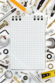 Notebook and hardware tools — Stock fotografie