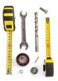 Set van tools en instrumenten — Stockfoto