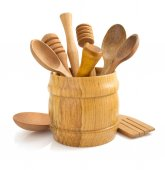 Wooden kitchen utensil on white  — Stock Photo