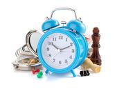 Alarm clock and school supplies — Zdjęcie stockowe