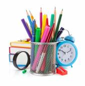 Office supplies in basket — Stock Photo