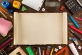School supplies on wood — Stock Photo