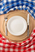 Plate, knife and fork — Stock Photo