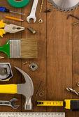 Araçları ve aletleri üzerinde ahşap — Stok fotoğraf