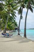 Couple on Honeymoon relax on Aitutaki lagoon — Stockfoto