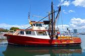 Fishing trawlers mooring at Gold Coast Fishermen's Co-Operative — Stock Photo