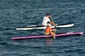 Australian sea kayaking in Gold Coast Queensland Australia — Stock Photo