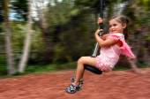 Child rids on Flying Fox — Stock Photo