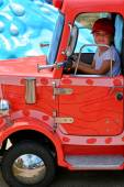 Child drive toy truck — Photo