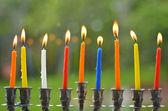 Hanukkah menorah lit with candles — Stock Photo