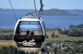 Linha do horizonte teleférico de gôndola em Rotorua, na Nova Zelândia — Fotografia Stock