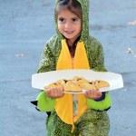 Girl in alligator costume with Purim — Stock Photo #66550609
