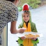Girl in alligator costume with Purim — Stock Photo #66550625