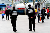 Chinese police guarding Nanjing Road — Stock Photo