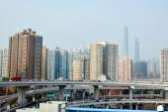 Traffic against Shanghai cityscape — Stock Photo