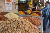 Edible seeds on display in Mahane Yehuda — Foto de Stock