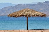 Straw Beach Umbrella — Stock Photo