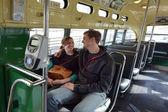 Happy American couple ride on San Francisco's original double-en — Stock Photo