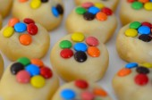 Cookies with lollies on white tray — Stock Photo