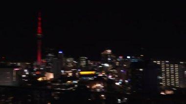 Auckland Sky towerskyline — Stockvideo