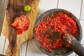 Sambal and its additional ingredient — Stock Photo