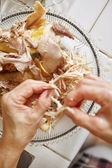 Shredded chicken for the ingredient for Soto — Stock Photo