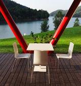 Relaxing place near lake — Стоковое фото