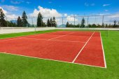 Synthetic outdoor tennis court  — Stock Photo