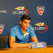 Professional tennis player Milos Raonic during press conference at Billie Jean King National Tennis Center — Stock Photo #51832877