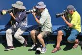 Professional photographers at US Open 2014 at Billie Jean King National Tennis Center — Stock Photo