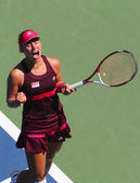 Professional tennis player Angelique Kerber celebrates victory after first round match at US Open 2014 — Stock fotografie