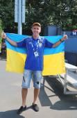 Tenis wentylator z ukrainy w nas otwarte 2014 w billie jean king krajowych kortów tenisowych — Zdjęcie stockowe