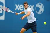 Professional tennis player Grigor Dimitrov from Bulgaria practices for US Open 2014 — Stock Photo
