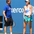 Постер, плакат: Five times Grand Slam champion Maria Sharapova practices with her coach Sven Groeneveld for US Open 2014