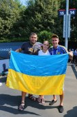 Ennis fans from Ukraine at US Open 2014 at Billie Jean King National Tennis Center — Stock Photo