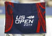 US Open 2014 official towel on player chair at the Arthur Ashe Stadium — Stock Photo