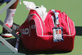 Six times Grand Slam champion Novak Djokovic customized Head tennis bag at US Open 2014 at Billie Jean King National Tennis Center — Stock Photo