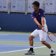 Professional tennis player Kei Nishikori practices for US Open 2014 at Billie Jean King National Tennis Center — Foto Stock